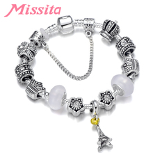 MISSITA Fashion Charm Bracelet Bangle with Tower Pendant Crown Beads Brand Bracelets for Women Jewelry Wedding Gift Hot Sale characteristic hot sale cross shape pendant design women s beads bracelet