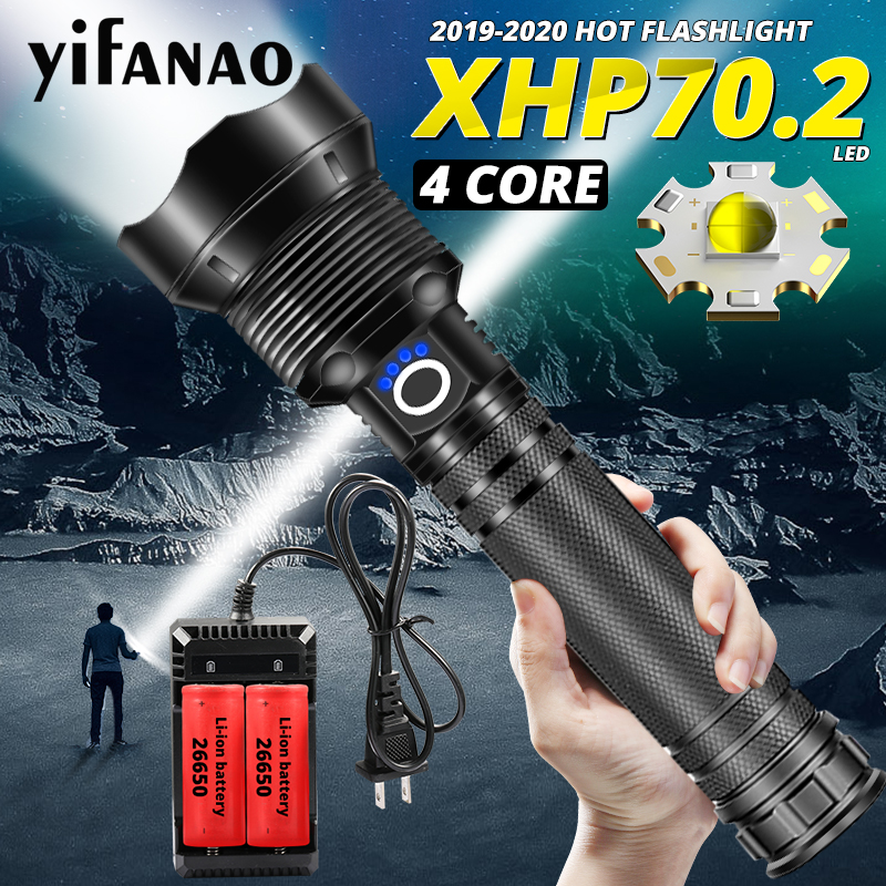 2020 NEW Ultra Powerful LED Flashlight XHP70.2 Xlamp XHP50 Bright USB Zoom Torch 18650 26650 Rechargeable Hunting Lamp Lantern