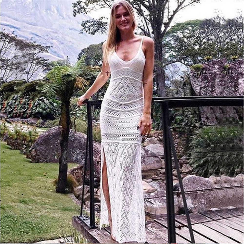 2020 seksi plaj tığ spagetti kayış yan bölünmüş örme yaz plaj elbise beyaz tığ tunik kadınlar Beachwear Maxi elbise