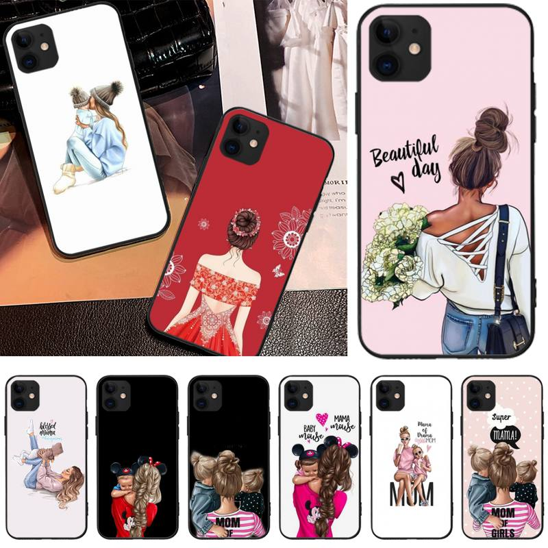 Jemy Fashion girl mother baby Coque Shell Phone Case For iphone 5C 5 6 6s plus