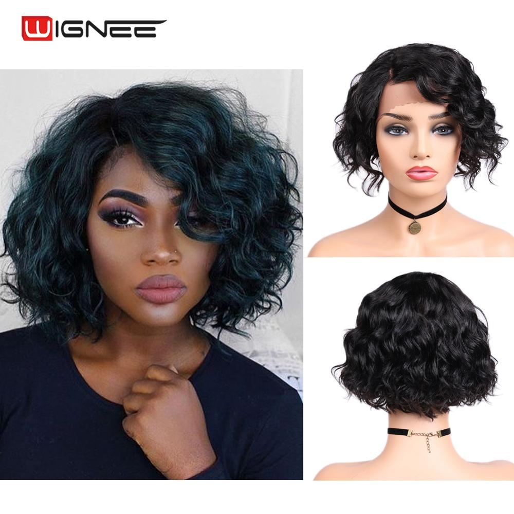 Wignee Remy Brazilian Hair Side Part Lace Human Hair Wigs For Black Women Glueless Hair Short Pixie Cut Curly Lace Human Wigs