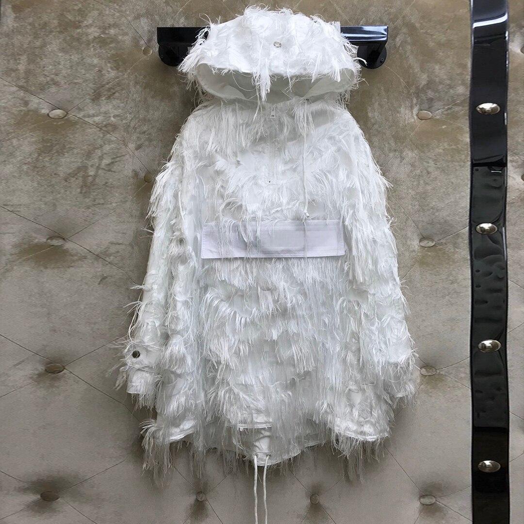 White Loose Casual Hoodies Sweatshirt Pullover Women 2020 New High-end Designer Fashion Patchwork Tassel Hooded Sweet Streetwear