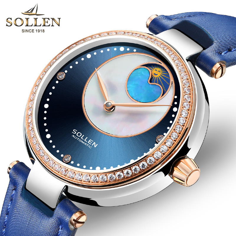 SOLLEN, синие женские часы, женские часы с бриллиантами, женские Автоматические механические часы для девочек, Montre Femme