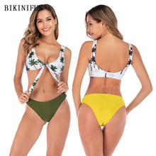 New Sexy Coconut Tree Print Bikini Women Swimsuit Bow Knot Bathing Suit S-L Girl Backless Padded Swimwear Micro Set