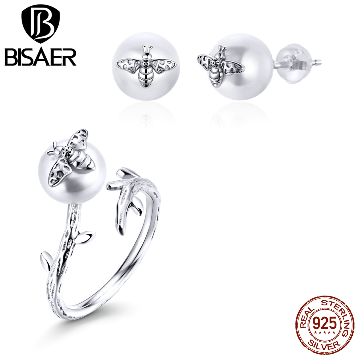 925 Sterling Silver Busy Bee Stud