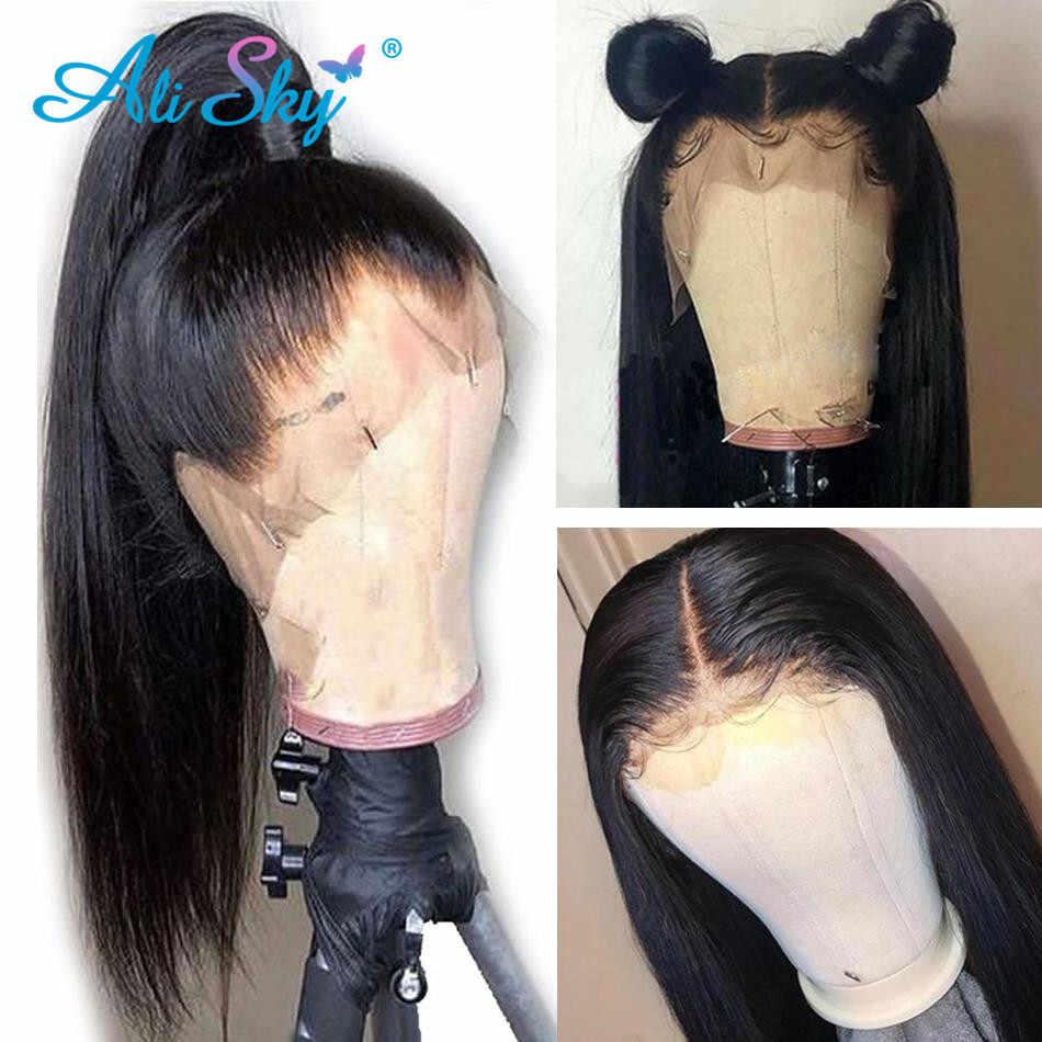 Ali Sky brazylijski koronki przodu włosów ludzkich peruk proste włosy 100% Remy ludzki włos peruka dla czarnych kobiet HD koronki przodu peruka 150 13*4