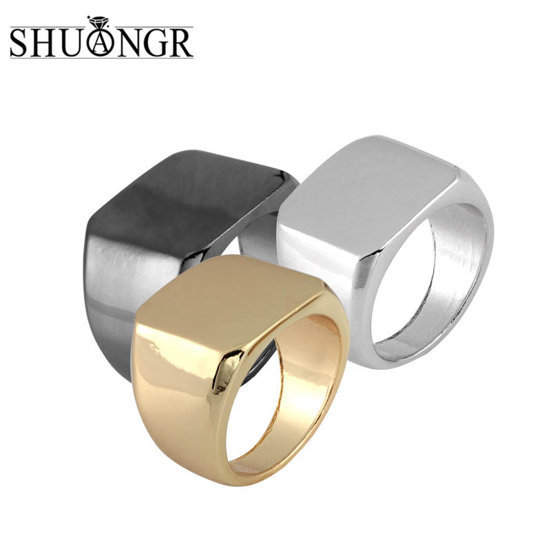 SHUANGR Simple Black/Gold/Silver Square Ring  Men Width Signet Polished Finger Rings Shellhard Punk Ring Jewelry Size 6-12