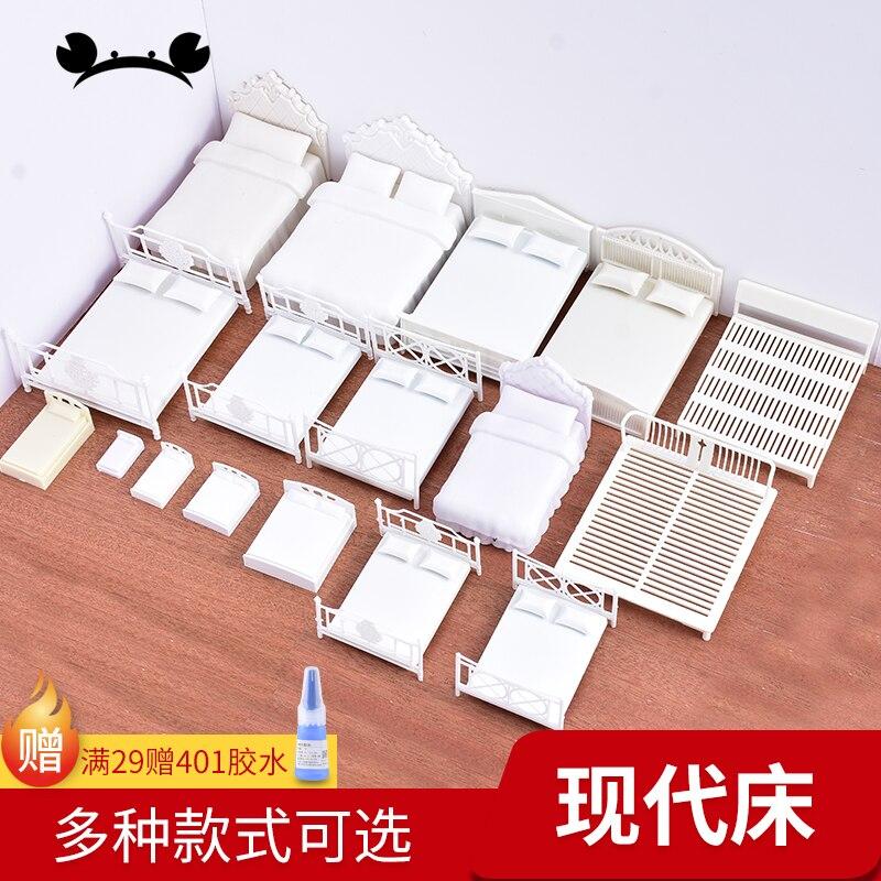 2pcs 1/20 1/25 1/30 Scale Dollhouse Bed Model Mini Furniture Miniature DIY Sand Table Model Building Material