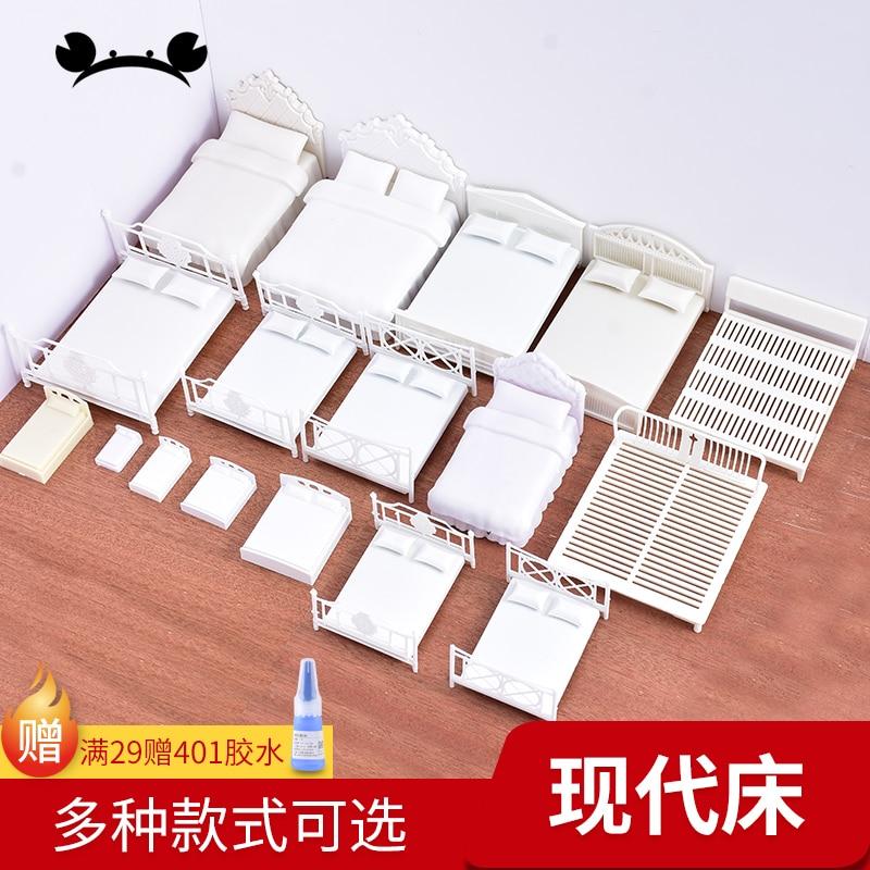 Casa de bonecas modelo de miniatura diy, 2 peças, 1/20 1/25, escala, cama de bonecas, móveis, mesa de areia, material de construção de modelo