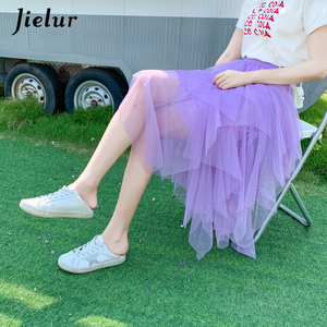 Image 4 - Jielur Women Skirt Irregular Saia Pure Color Harajuku Female Summer Skirts Vogue Vintage New Jupe Longue Fashion Chic Saias