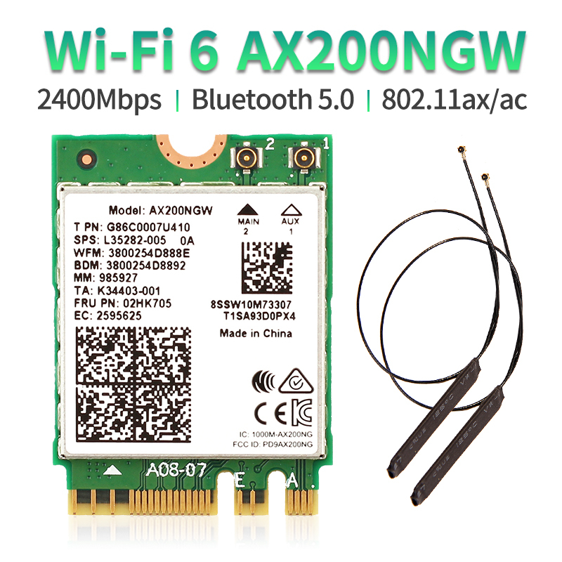 Dual Band 802.11ax WIfi 6 For Intel AX200 NGFF M.2 KEY E Wireless Card AX200NGW MU-MIMO 2.4G/5Ghz 2400Mbps BT 5.0 With Antennas