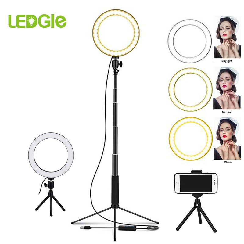 LED Ring Floor Lamp 80LEDs Stand Light Dimmable Selfie Lampadaire LED USB Floor Lamps Lampara For Makeup Phone Live Year Stream
