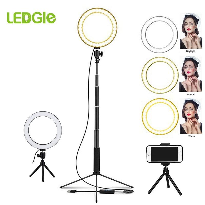 Lampa podłogowa LED pierścień 80 LEDs stojąca lampa ściemniania Selfie Lampadaire LED USB lampy podłogowe Lampara do makijażu telefon na żywo...