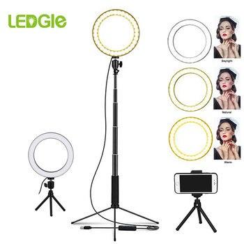 Lampa podłogowa LED pierścień 80LEDs stojąca lampa ściemniania Selfie Lampadaire LED USB lampy podłogowe Lampara do makijażu telefon na żywo... w Lampy podłogowe od Lampy i oświetlenie na