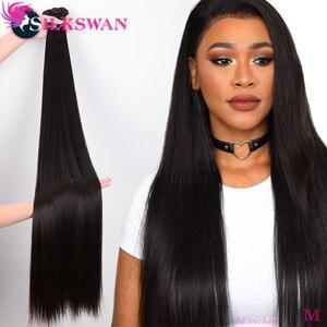 Silkswan 32 34 36 38 40 Inch Straight Human Hair Bundles 3 4 pieces Remy Hair extension Brazilian Hair Weave Bundles(China)