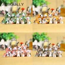 9 pçs kawaii queijo gatos kitty estátua miniaturas resina gatinho gato estatuetas mini figuras de jardim decoração para casa crianças brinquedos