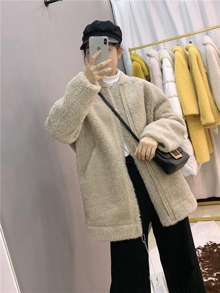 Winter jacket women's brand 2020 leather coat new sheepskin shears coat female fur lamb wool loose coat jacket street new