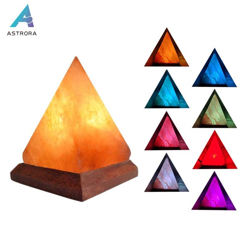 ASTRORA USB Himalayas Salt Lamp Air Purify RGB Round Natural Pyramid Salt Crystal Rock Lamp Wooden Base Colorful Novelty Light