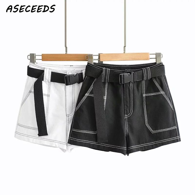 2020 Summer Vintage Black Cargo Shorts Women Elastic High Waist Shorts For Women Belt Biker Shorts Korean Sexy Shorts Feminino
