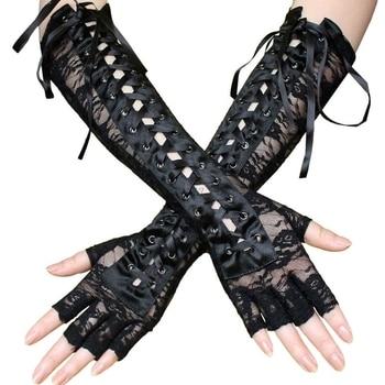 Women Sexy Lace Long Gloves Winter Elbow Length Half-finger Gloves Ribbon Fingerless Fishnet Mesh Etiquette Party Gloves 1