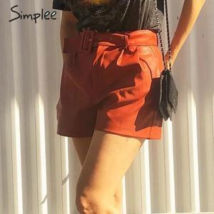 Image 2 - Simplee pantalones cortos de piel sintética para mujer, shorts femeninos de cintura alta, cinturón de otoño e invierno, de pierna ancha, para club de fiestas de señoras