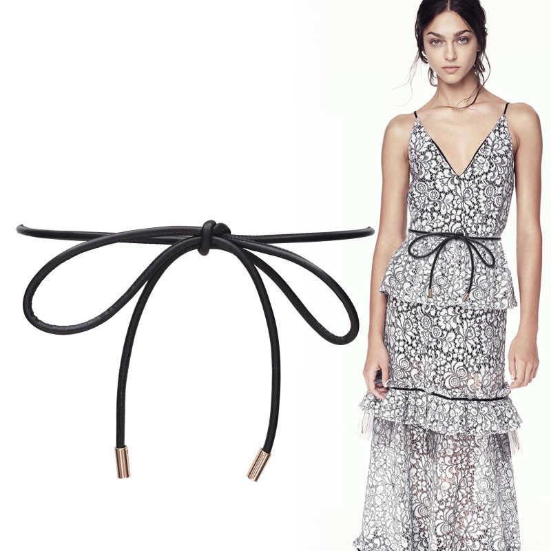 Real Sheepskin Belts Women Black Long Thin Bow No Buckle  Genuine Leather Knot Waistbands Lambskin Dress Party Cummerbunds Girl
