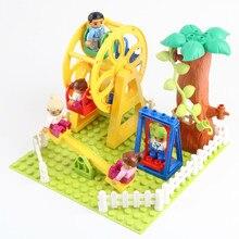 Diy tamanho grande blocos de construção feliz família conjuntos figuras paraíso acessórios roda gigante tijolos compatíveis com duploed brinquedos