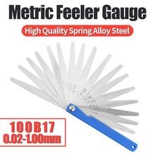Calibre métrico size0.02-1.00mm do feeler de 100b17 calibres de aço inoxidável grosso material telêmetro espessura ferramenta de detecção gap
