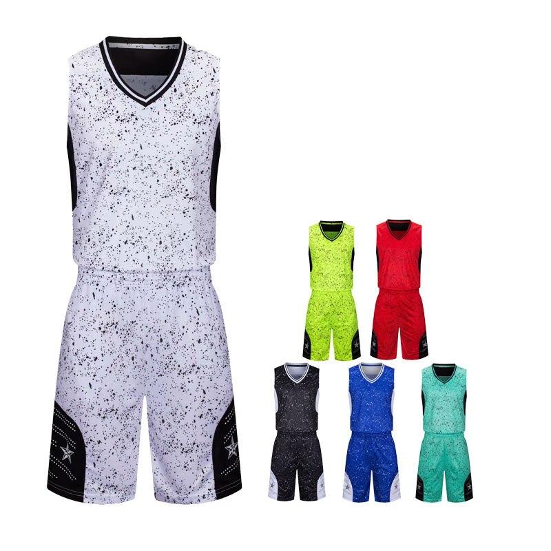 Camisa de Basquete Equipe de Basquete Uniforme em Branco Terno sem Mangas Shorts Adulto Crianças Treino Esportiva Personalizado &