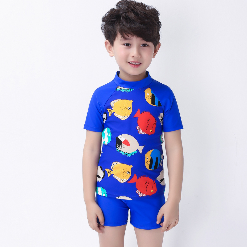Korean-style New Style Bathing Suit Manufacturers Haiyishan KID'S Swimwear BOY'S Printed Two-piece Swimsuits Short Sleeve Tour B