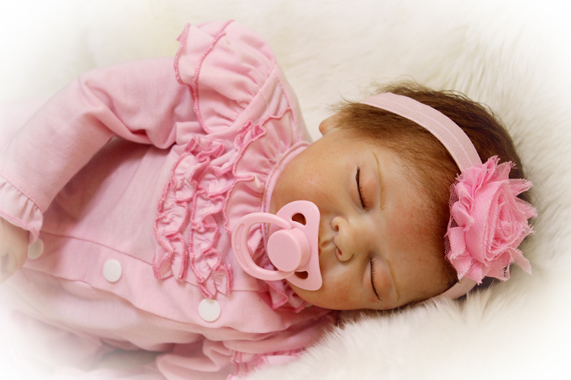 "Repainted 22/"" Full Silicone Reborn Baby Dolls Newborn Sleeping Girl Waterproof"