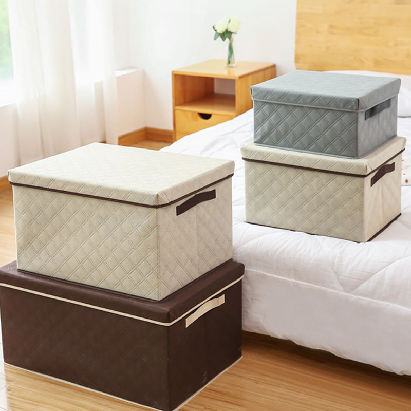 European Washable Large Capacity Storage Box Portable Non-Woven Foldable Clothes Organizer Bin with Cover Home Storage Container