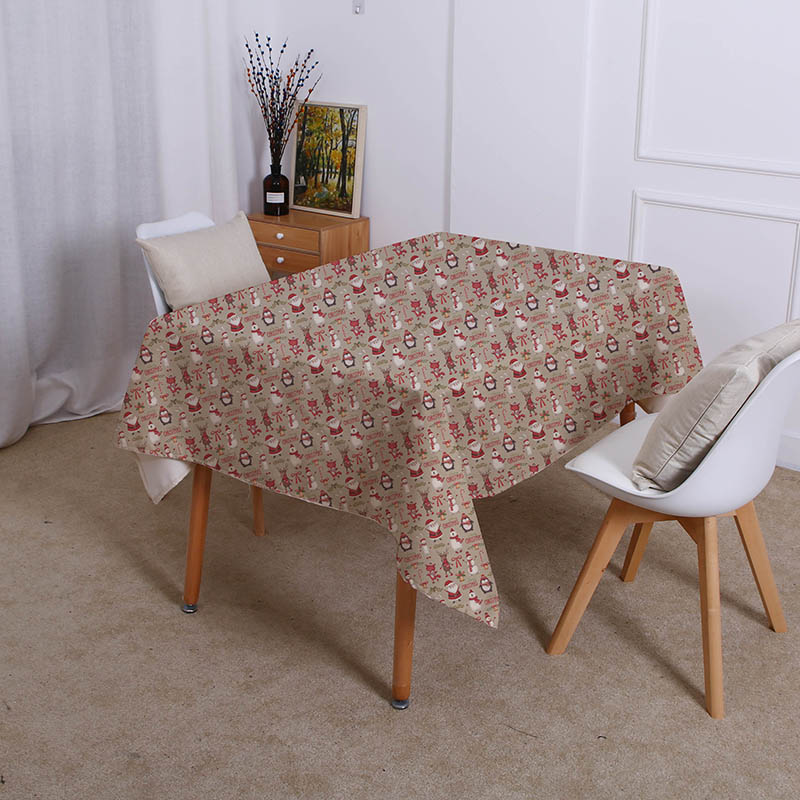 Snowman Waterproof Linen Table Cloth
