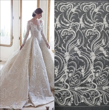 Wedding dress handmade beaded lace lace accessory fabric DIY sequin fabric bead lace fabric  3d lace fabric  french lace fabric