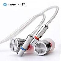 TINHiFi T4 Headphones Dynamic Driver HIFI Audio Music Monitor DJ Studio In ear Earphone IEM MMCX Cable Easy to Drive For Phones