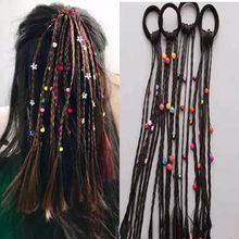 1 adet çocuk renkli peruk saç tokası kadın kızlar Pigtail lastikleri saç bantları sokak performansı saç şekillendirici saç aksesuarları sıcak