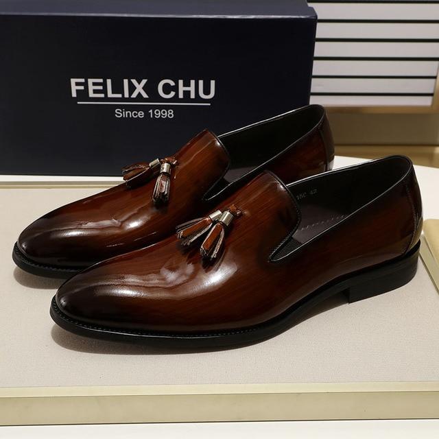 פליקס CHU פטנט עור גברים ציצית בטלן נעלי שחור חום להחליק על Mens שמלת נעלי חתונה נעליים רשמיות מסיבת גודל 39 46