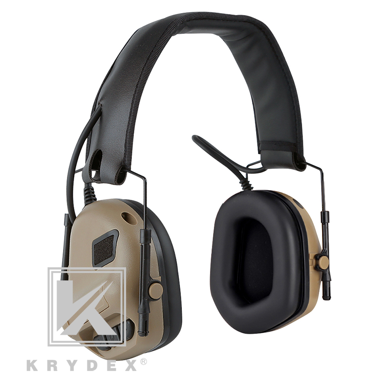 KRYDEX IPSC Noise Reduction Communication Headphone For Shooting Hunting Military Activities Peltor Comtac Tactical Headset DE