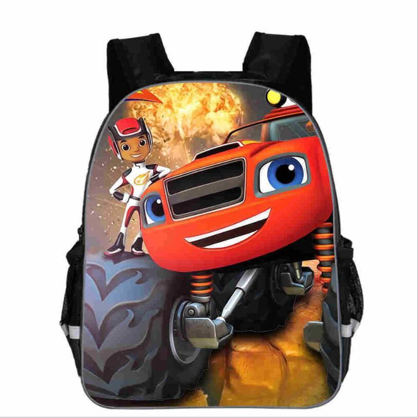 Nastolatek Cartoon Blaze i potwór maszyna torba z nadrukiem chłopcy szkolne torby plecak do szkoły podstawowej tornistry dla chłopców Mochilas