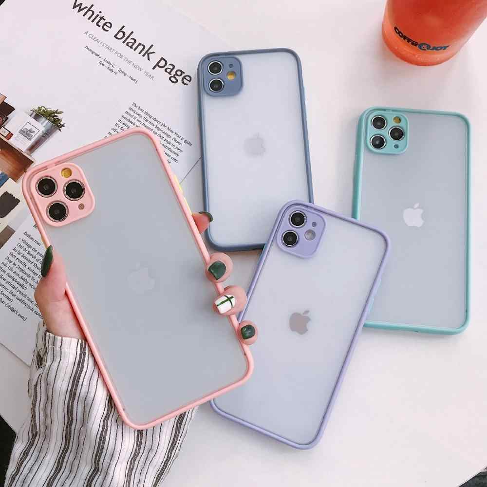 Tahan Guncangan Ponsel Case untuk iPhone 11 Pro X XS Max XR X 8 7 SE 2020 6 S 6 S plus Perlindungan Kamera Matte Bumper Penutup Belakang