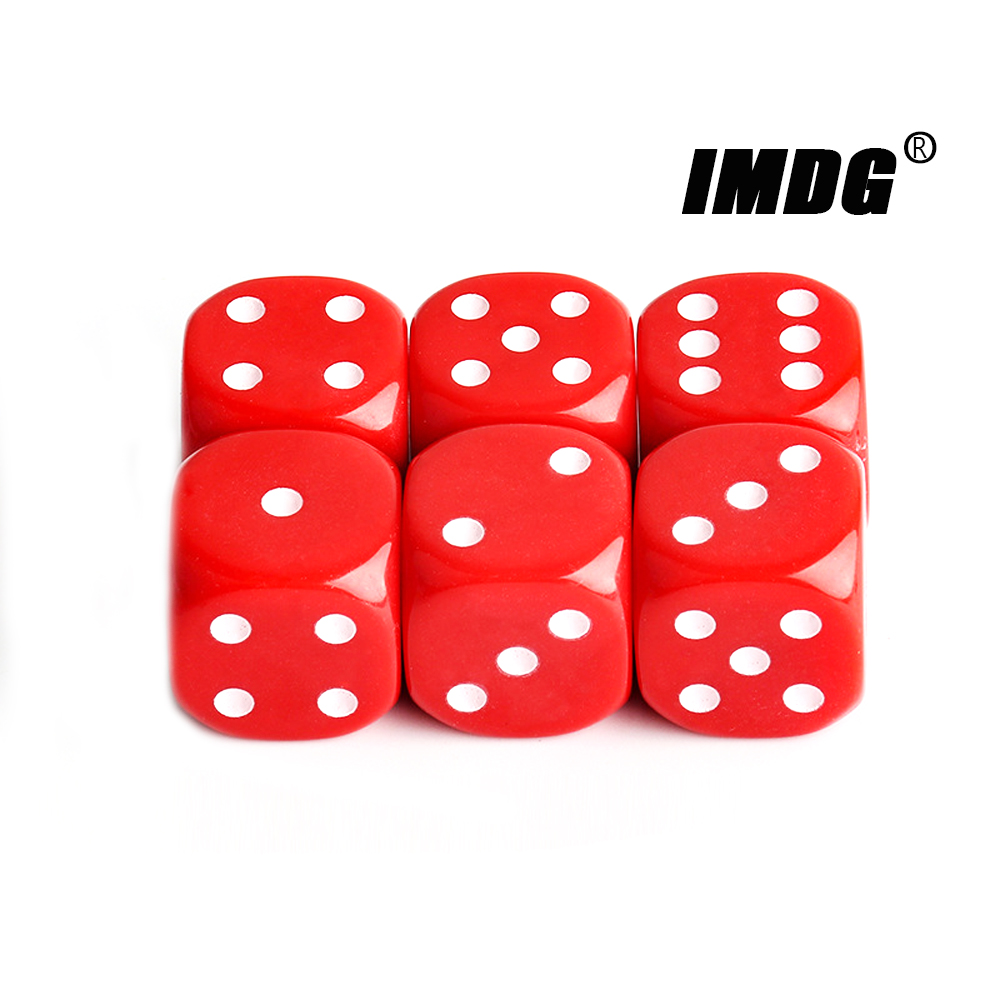 6pcs/pack New Acrylic Dice 25mm Red Black Round Corner High Quality Boutique Game Props Dice