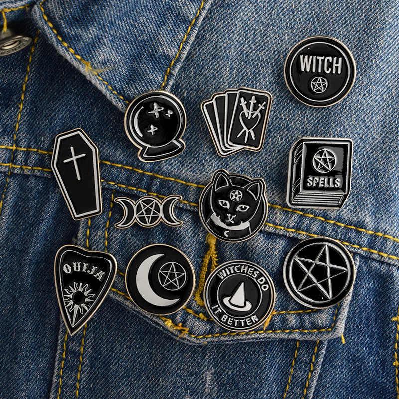 Baik Hitam Punk Kucing Hitam Bros Bulat Lima Menunjuk Bintang Lencana Buku Sihir Pin Denim Mantel Pin Gothic Lencana hadiah untuk Teman