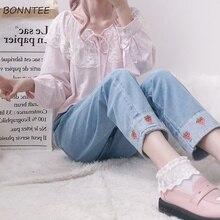 Jean taille haute, longueur cheville, pour femmes, Style coréen, vêtement en tissu imprimé fraise, Style Patchwork Harajuku, élastique Kawaii