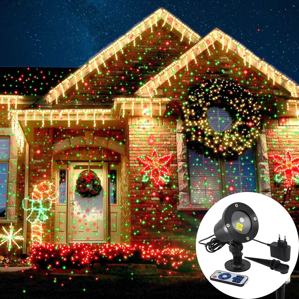 Laser Projector Sky Stars Lights Christmas Red Green Static Twinkle Projector Lights Garden Party Landscape LED Stage Light
