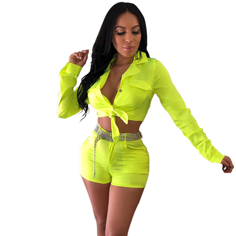 Neon Green Matching Sets Tracksuit Sweat Suit <font><b>Festival</b></font> <font><b>Sexy</b></font> Club Outfits 2 Two Piece Set Women Crop Top and Bodycon Shorts image