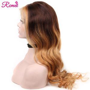Image 4 - 13x4 светлые волнистые прозрачные #4/27 Омбре кружевные передние человеческие волосы парики предварительно выщипанные с ребенком волосы бразильские 150% Remy волосы парик