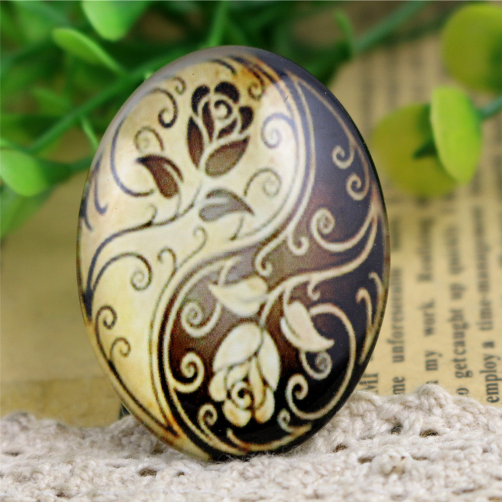 2pcs 30x40mm New Fashion Tai Chi Flower Handmade Photo Glass Cabochons Pattern Domed Jewelry Accessories Supplies-I3-09