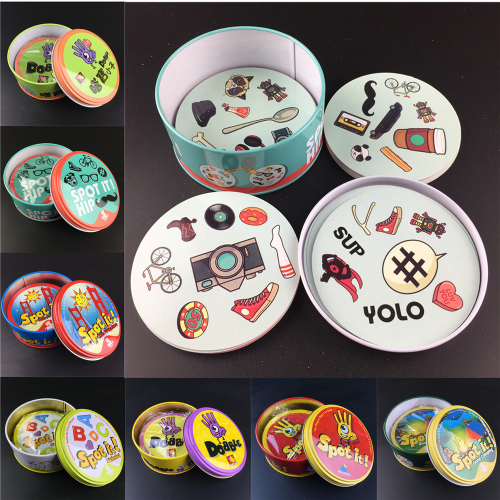 Spot It And Dobble Card Game Table Board Game For Dobbles Kids Spot Cards It Go Camping Metal Tin Box SHALOM HALLOWEEN Toys