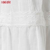 Tangada 2021 Fashion Women Flowers Embroidery White Strap Dress Sleeveless Backless Female Casual Beach Sundress 6H40 4