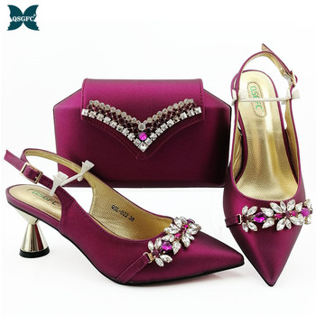 Newest Winter Magenta Italian design Shoes With Matching Clutch Bag Hot African Wedding With High Heel shoes and Bag Set Party